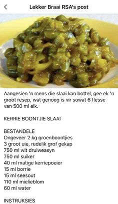 South African Recipes, Afrikaans, Kos, Pickles, Asparagus, Salads, Recipies, Curry, Beans