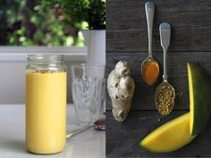 mango, coconut & bee pollen smoothie with turmeric & ginger
