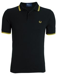 Fred Perry polo shirt. Black / yellow