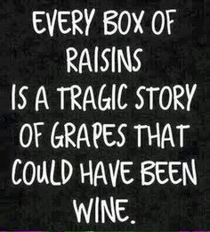 The best example of not reaching for your potential. Don't be a raisin, dammit. Wine Jokes, Wine Funnies, Drinking Quotes, Wine Drinks, Funny Signs, Decir No, Quotes To Live By, Laughter, Funny Quotes