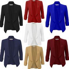 LE3NO Womens Lightweight Ruched 3/4 Sleeve Open Front Blazer Jacket, Black, Navy, Royal Blue, Burgundy, Vermilion, Off White, Camel $22.99