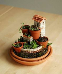 Cute stacked garden vignette using succulents for the plants