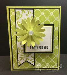 Stampin' Up! Daisy Punch, Fresh Florals DSP Stack, Wood Words stamp set, Stampin' Studio