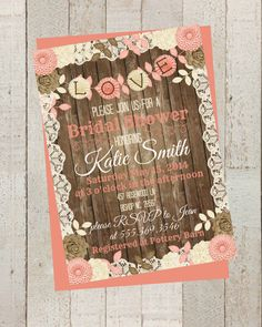 shabby chic rustic bridal shower invite invitation with flowers simple casual digital file rustic wood wedding