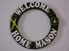 Welcome Home Military Wreath - Welcome Home Army Wreath - Welcome Home - Marine Wreath - Camo Wreath - Air Force Wreath - Coast Gurad Wreath. $35.00, via Etsy.