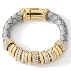 "Serena William Rings of Bling Goldtone Platinum Woven Leather 7.5"" Bracelet 168Q #SerenaWilliams #Statement"