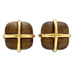 Seaman Schepps Walnut and Gold Crossover Earclips | From a unique collection of vintage stud earrings at https://www.1stdibs.com/jewelry/earrings/stud-earrings/