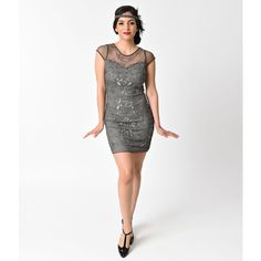 1920s Style Grey Beaded Floral Curl Mesh Short Flapper Dress ($56) ❤ liked on Polyvore featuring dresses, metallic, beaded cocktail dresses, vintage style flapper dresses, gray cocktail dress, sequin cocktail dresses and short sequin cocktail dresses