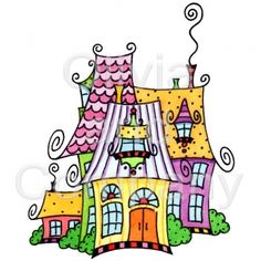 Fantasy Mansion is an original watercolor illustration with a transparent background. Tangle Doodle, Doodles Zentangles, Zen Doodle, Zentangle Patterns, Doodle Art, Doodle Play, Doodle Sketch, Doodle Drawings, House Doodle