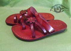 Own&Adore  Flower slipper Flat Leather Straps Toe loop flat flower flip flop for women Jerusalem Sandal
