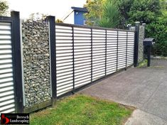 fence made of corrugated iron and gabione - photographed by Deresch Landscaping - DL11120-001-0002
