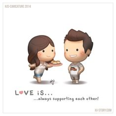 love is.always supporting each other Hj Story, Cute Couple Cartoon, Cute Love Cartoons, Cute Cartoon, Cute Love Stories, Love Story, Love Drawings, Couple Drawings, Love Quotes For Him