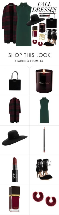"""Fall Dresses"" by lanadelrey96 ❤ liked on Polyvore featuring Atelier Cologne, Rochas, Theory, Maison Michel, MAC Cosmetics, NYX, Tom Ford and Lana"