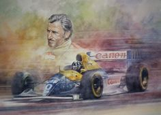 The Racing Line - Graham and Damon Hill by Jeremy Mallard. http://www.facebook.com/JeremyMallardsArtAchive