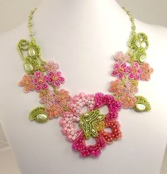 Zephyr's Spring Flower Necklace, by Marsha Wiest-Hines at Haute Ice Beadwork: 2010 GALLERY