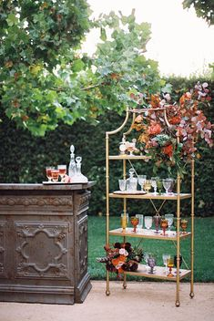 autumn wedding bar with eclectic glasses and gold display wedding bar Luxurious Hidden Garden Romance with a Rich, Warm Color Palette ⋆ Ruffled English Country Weddings, Country Wedding Inspiration, Hidden Garden, Warm Colour Palette, Chic Vintage Brides, Eclectic Wedding, Garden Wedding Decorations, Magical Wedding, Fall Wedding Colors
