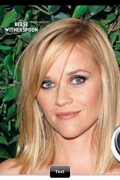 Reese Witherspoon Hair cut with long bangs Blonde Hair Blue Eyes Makeup, Blue Eye Makeup, Hair Makeup, Reese Witherspoon Hair, Senior Picture Makeup, Long Bangs, Love Hair, Looks Cool, Short Hair Styles