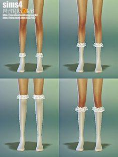 lace socks_4 version_레이스 양말_여성 양말 - SIMS4 marigold