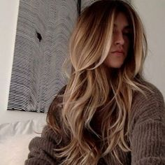 Long layered brown blonde highlights lowlights bronde hair straight