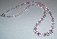 Pink Czech Crystal Necklace by mommazart on Etsy, $12.00