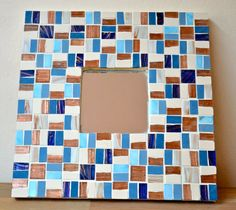 Blue and gold mosaic mirror by mimosaico on Etsy, $20.00