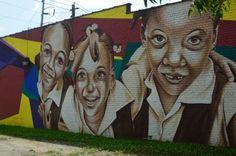 Street Art in Atlanta - Little Girls painted on building
