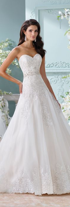 The David Tutera for Mon Cheri Spring 2016 Wedding Gown Collection - Style No. 116210 Laina #laceweddingdresses
