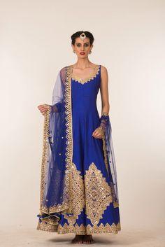 Blue & Gold Anarkali