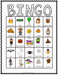 Halloween Bingo! 30 different boards with fall & Halloween pictures and labels underneath. Comes in color and in black and white.