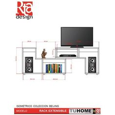 """Mueble Rack TV 40"""" TuHome Extensible Beijing -Rovere