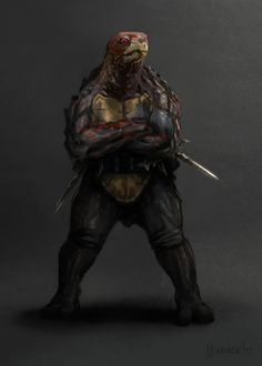 Cool Gritty NINJA TURTLES Character Illustrations - News - GeekTyrant    I love that there's no masks and just a tinge of color to differentiate.