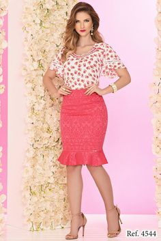 Conjunto crepe estampado pink ZR4544 - NerisBella Moda Evangélica