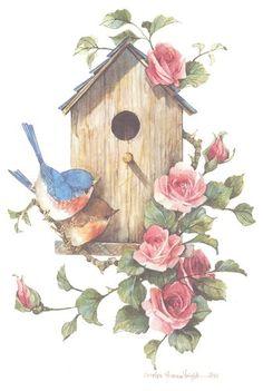 Birdhouse with Bluebirds 10 x 7 lithograph | CShoresInc - Print on ArtFire