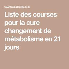 Liste des courses pour  la cure changement de métabolisme en 21 jours