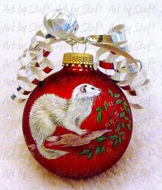 Art by Stef Christmas Bulbs, Merry Christmas, Christmas Gifts, Animal Drawings, Pet Drawings, Cute Ferrets, Nature Paintings, Pet Store, Tree Decorations