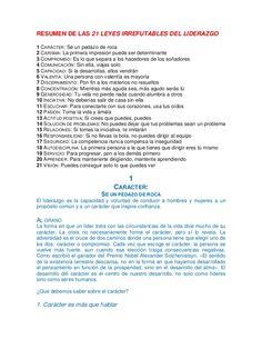 RESUMEN DE LAS 21 LEYES IRREFUTABLES DEL LIDERAZGO 1 CARÁCTER: Sé un pedazo de roca 2 CARISMA: La primera impresión puede ...