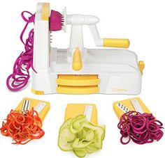 Zestkit Tri-Blade Spiralizer Vegetable Slicer Strongest-and-Heaviest Duty Veggie Pasta & Spaghetti Maker for Low Carb/Paleo/Gluten-Free Meals Fresh Vegetables, Veggies, Veggie Cutter, Spiral Vegetable Slicer, Vegetable Spiralizer, Gadgets, Veggie Pasta, Beautiful Fruits, Thing 1
