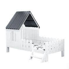 Solid Wood Kids House Bed-Black