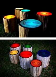 Logs painted with glow in the dark paint. Perfect for outdoor fire pit seating. Who wouldn't want to come to that campfire!?!