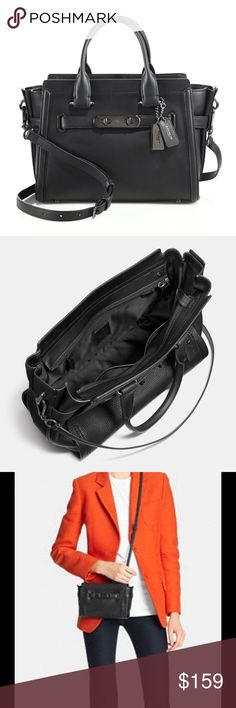Last Chance❗️Coach Black Swagger Small Pebble Crossbody Bags, Satchel, Luxury Bags, Fashion Design, Fashion Tips, Fashion Trends, Black Metal, Coach Bags, 3 D