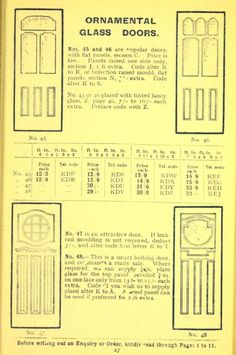 Ornamental Glass Doors, 1913.      C. Jennings & Co.  From the Association for Preservation Technology (APT) - Building Technology Heritage Library, an online archive of period architectural trade catalogs. Select an era or material and become an architectural time traveler.