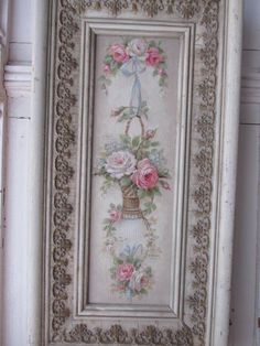 GORGEOUS Christie REPASY Canvas Print PINK & WHITE ROSES ORNATE Old GESSO Frame