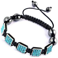 Light Blue Cubic Nylon Crystal Hematite Bracelets Jewelry Gift