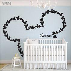 Mickey Mouse Wall Art wall decal art decor mickey mouse baby name wallhappywallz