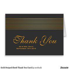 Gold Striped Sleek Thank You Card