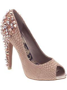 370bdf13a Peach studded heels peep toe Spike Heels