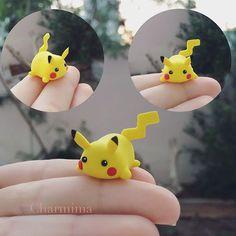 I made a random looking Pikachu but it kinda looks like a tsum tsum now haha! #tsumtsum #pikachu #pokemon #disney #nintendo #polymerclay #polymerclaycharms #charms #cute #kawaii #handmade #craft #airdry #airdryclay