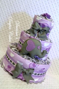 Purple Lilac Lavender Elephants Baby Diaper Cake Shower Gift or Centerpiece by Dianna's Diaper Cakes www.diannasdiapercakes.etsy.com