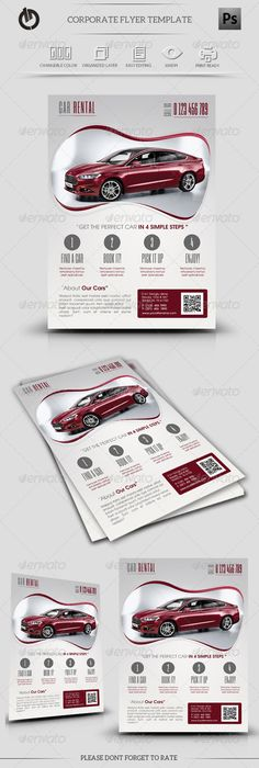 Car Rental Flyer Template #GraphicRiver Car Rental Flyer Template Fully layered PSD 300 Dpi, CMYK Completely editable, print ready Text/Font or Color can be altered as needed All Image are in vector format, so can customise easily Photos are not included in the file Fonts used, and avilable link (Free 100%): —-—-—-—-—-—-—-——- TeX Gyre Adventor : .fontsquirrel /fonts/TeX-Gyre-Adventor Six Caps: .fontsquirrel /fonts/six-caps Created: 8October13 GraphicsFilesIncluded: PhotoshopPSD Layered: Yes…