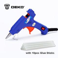 DEKOPRO 20W EU Plug Hot Melt Glue Gun with Free 10pc 7mm Glue Stick Industrial Mini Guns Thermo Electric Heat Temperature Tool  Price: 6.09 USD